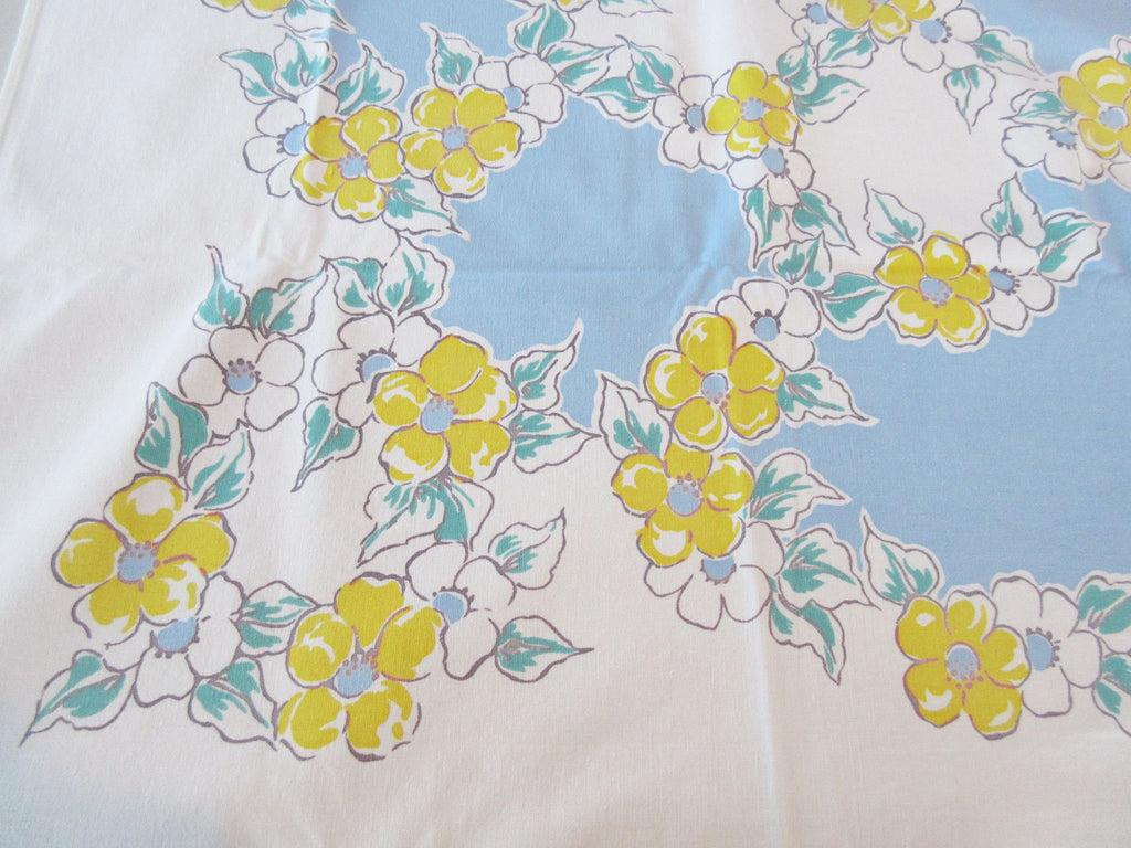 Heavier Yellow Dogwood on Blue Floral Vintage Printed Tablecloth (63 X 50)
