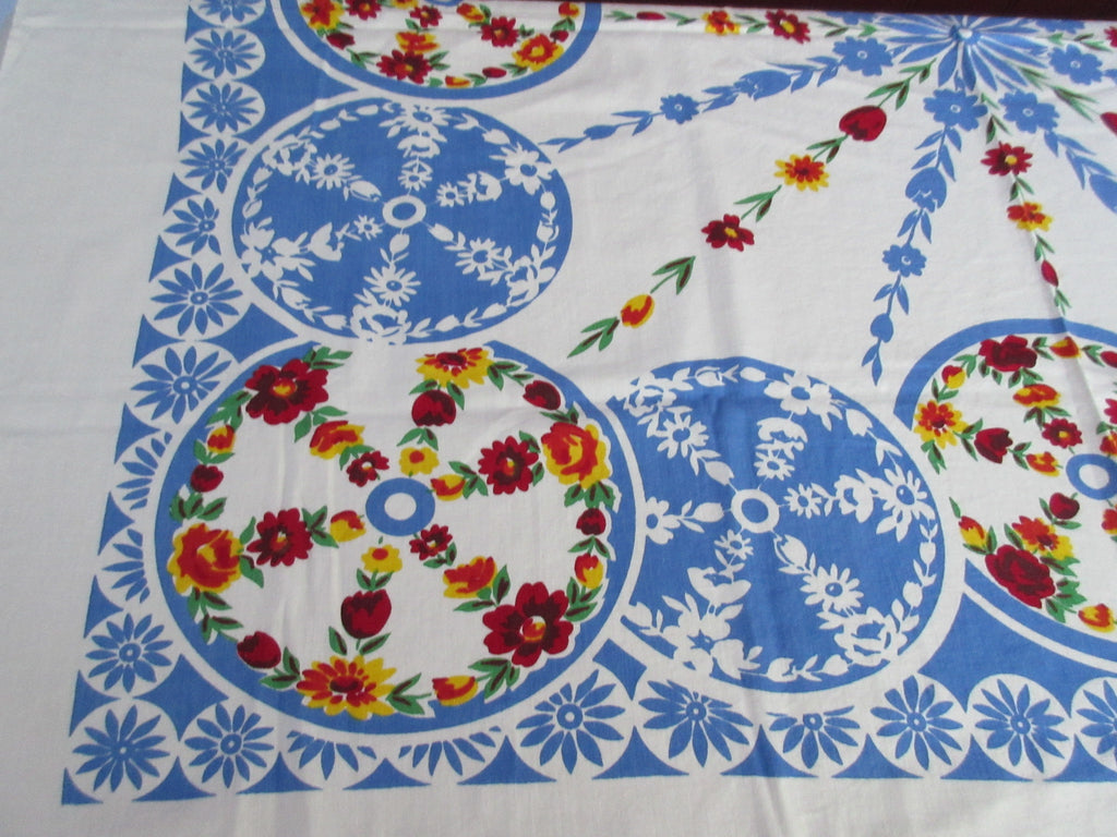 Primary Floral Circles Red Yellow Blue Vintage Printed Tablecloth (54 X 47)