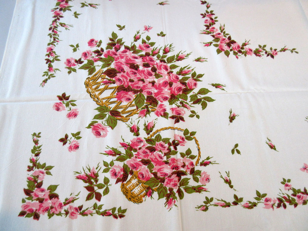 Pretty Pink Roses Baskets Floral Vintage Printed Tablecloth (53 X 46)