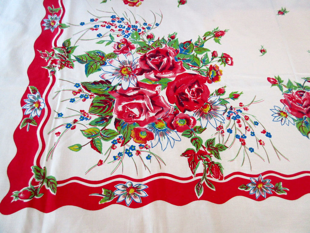 Red Primary Roses on Red Floral Vintage Printed Tablecloth (55 X 50)