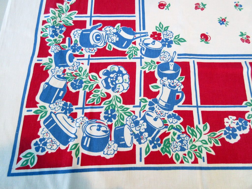 Patriotic Broderie Pots Pans Cooking Novelty Vintage Printed Tablecloth (50 X 48)