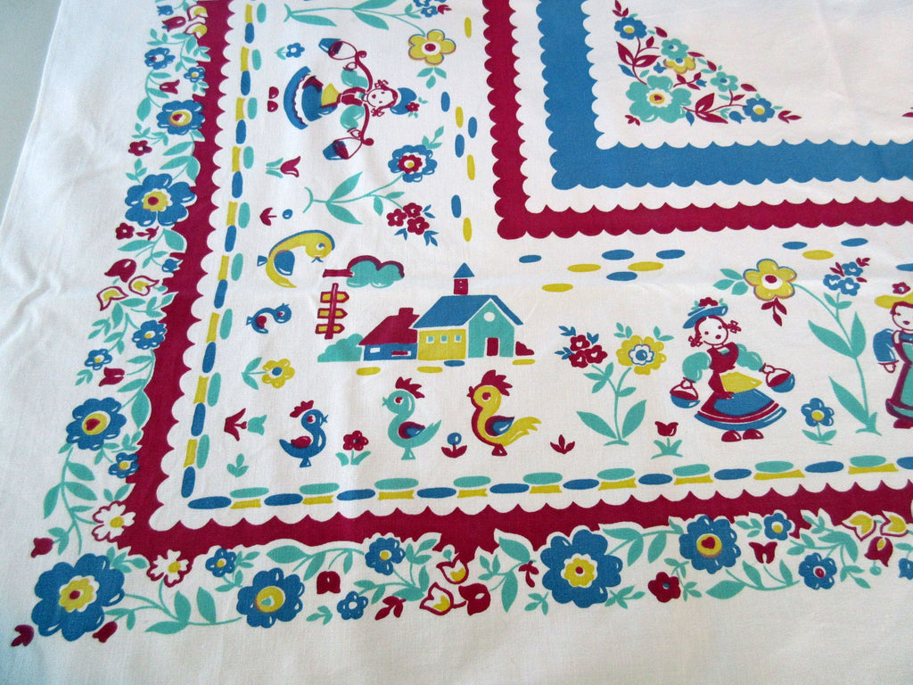Imperfect Primary Broderie Dutch Children Novelty Vintage Printed Tablecloth (49 X 45)