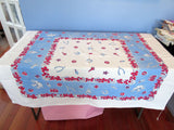 Startex Good Luck Icons on Blue Novelty Vintage Printed Tablecloth (49 X 44)