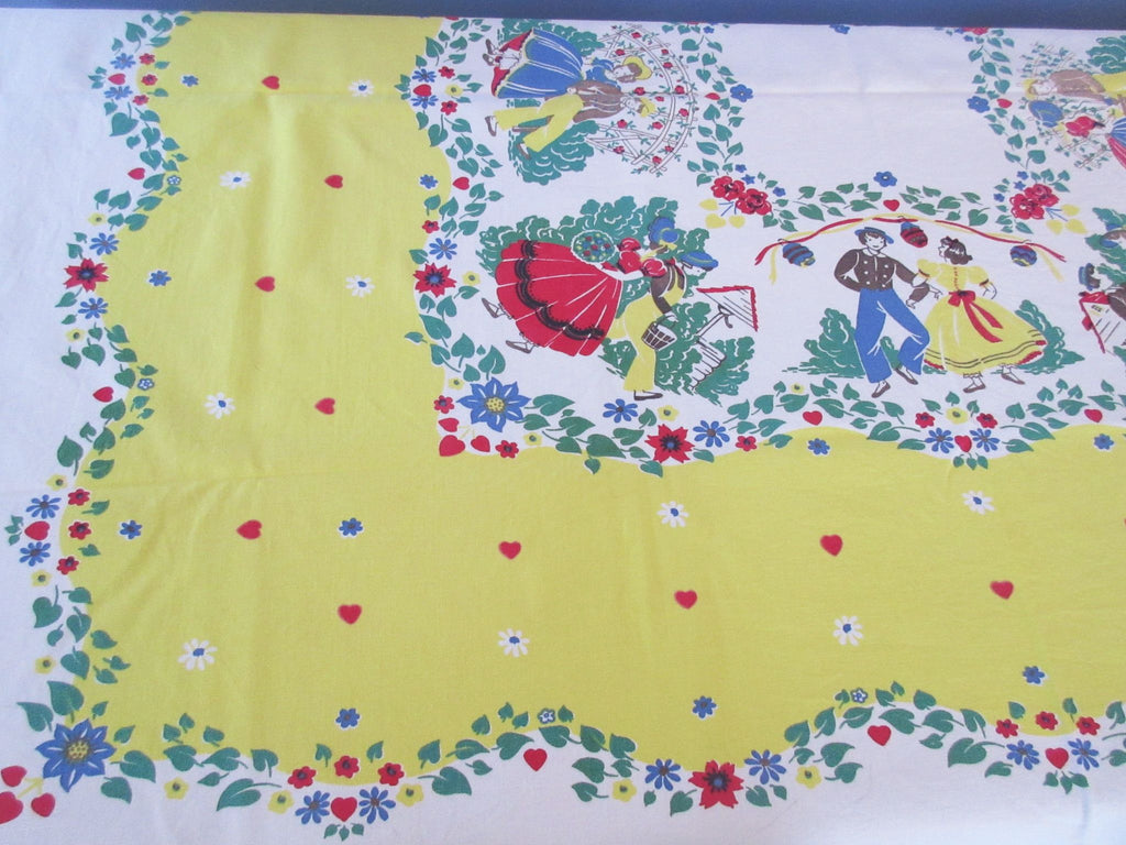 Leacock Courting Sweethearts Hearts Novelty Vintage Printed Tablecloth (53 X 45)