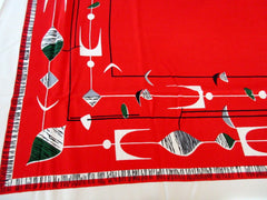 Calder Mobile on Scarlet Red Novelty Vintage Printed Tablecloth (61 X 48)