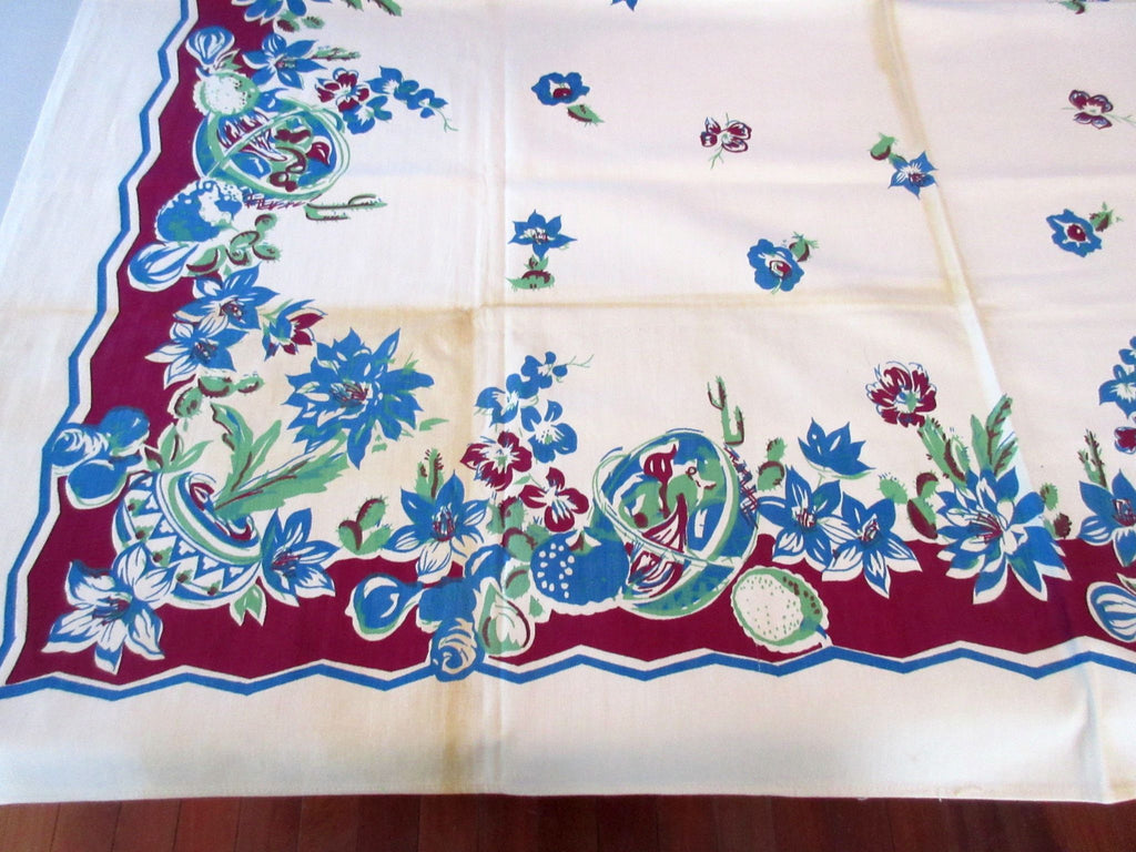 Unusual CUTTER? Southwest Mexican MWT Novelty Vintage Printed Tablecloth (51 X 50)