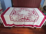 Rare Magenta Pride of Flanders Deer Rabbit Linen Novelty Vintage Printed Tablecloth (52 X 52)
