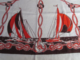 Early Fall Nautical Linen Ships Fish Unwashed Novelty Vintage Printed Tablecloth (49 X 48)