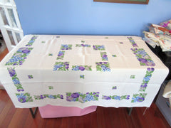 Springy Purple Fruit Blocks Linen Vintage Printed Tablecloth (50 X 48)