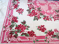 Absolutely Stunning Lilacs on Pink Cutter? Floral Vintage Printed Tablecloth (51 X 46)