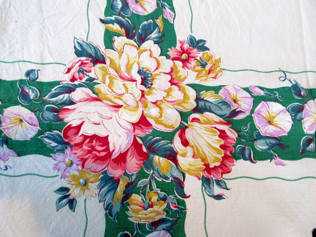 Peonies Morning Glories on Green Cutter? Floral Vintage Printed Tablecloth (63 X 48)