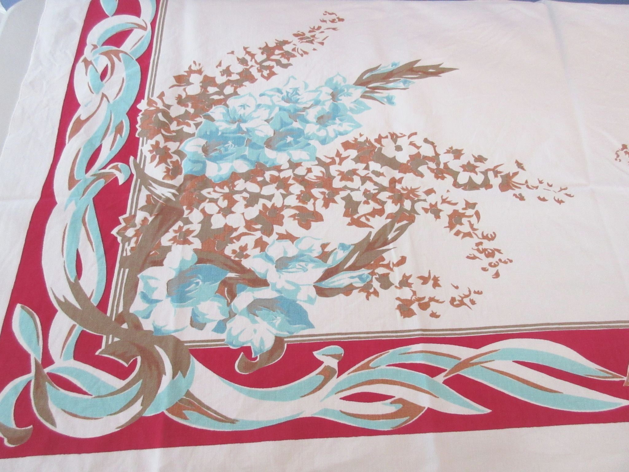 Shabby Tan Aqua Gladioli on Red Floral Vintage Printed Tablecloth (54 X 48)