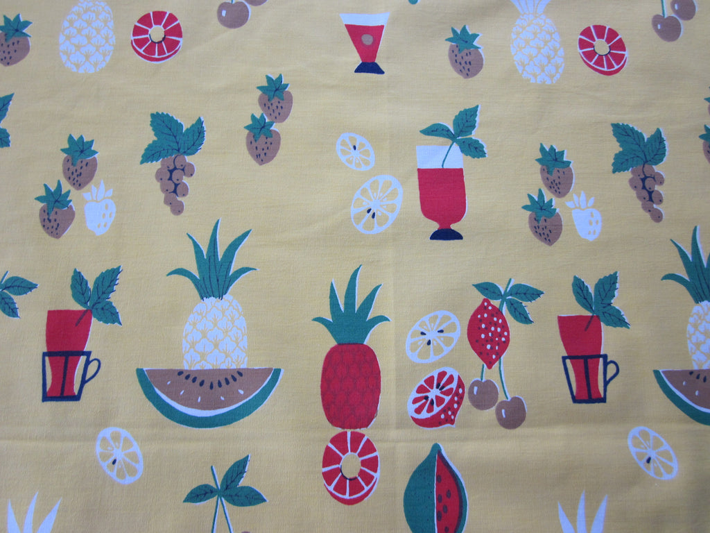 Cocktails Fruit on Gold Yellow Novelty Vintage Printed Tablecloth (56 X 47)
