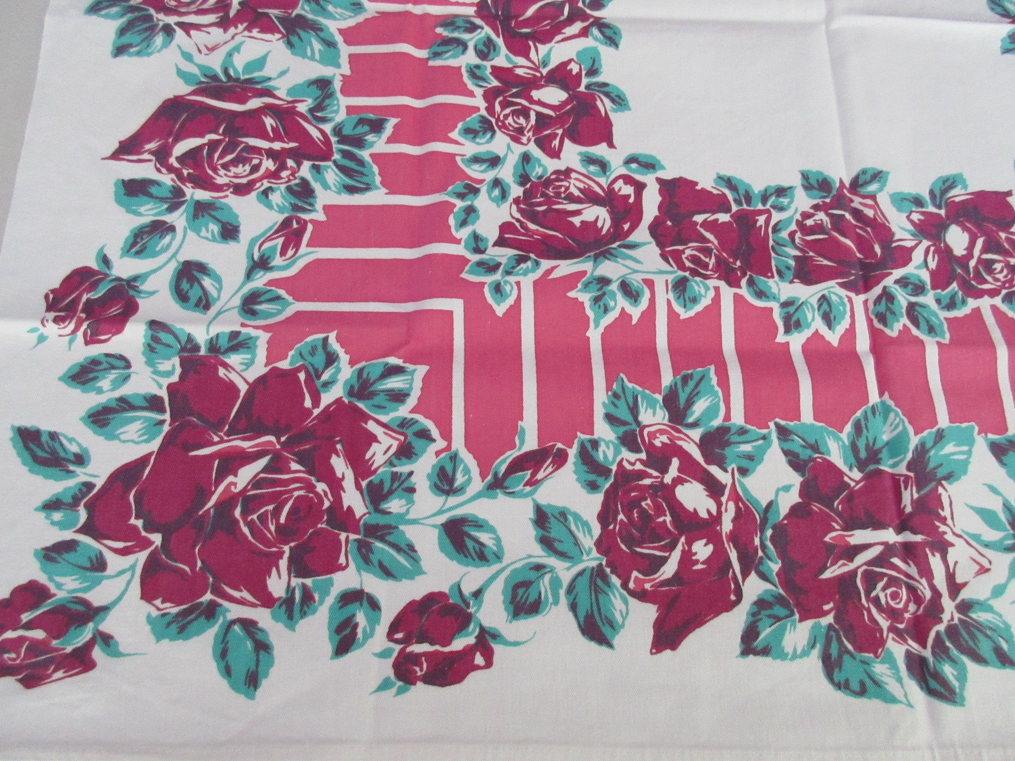 Magenta Green Roses on Pink Bars Topper Floral Vintage Printed Tablecloth (35 X 31)