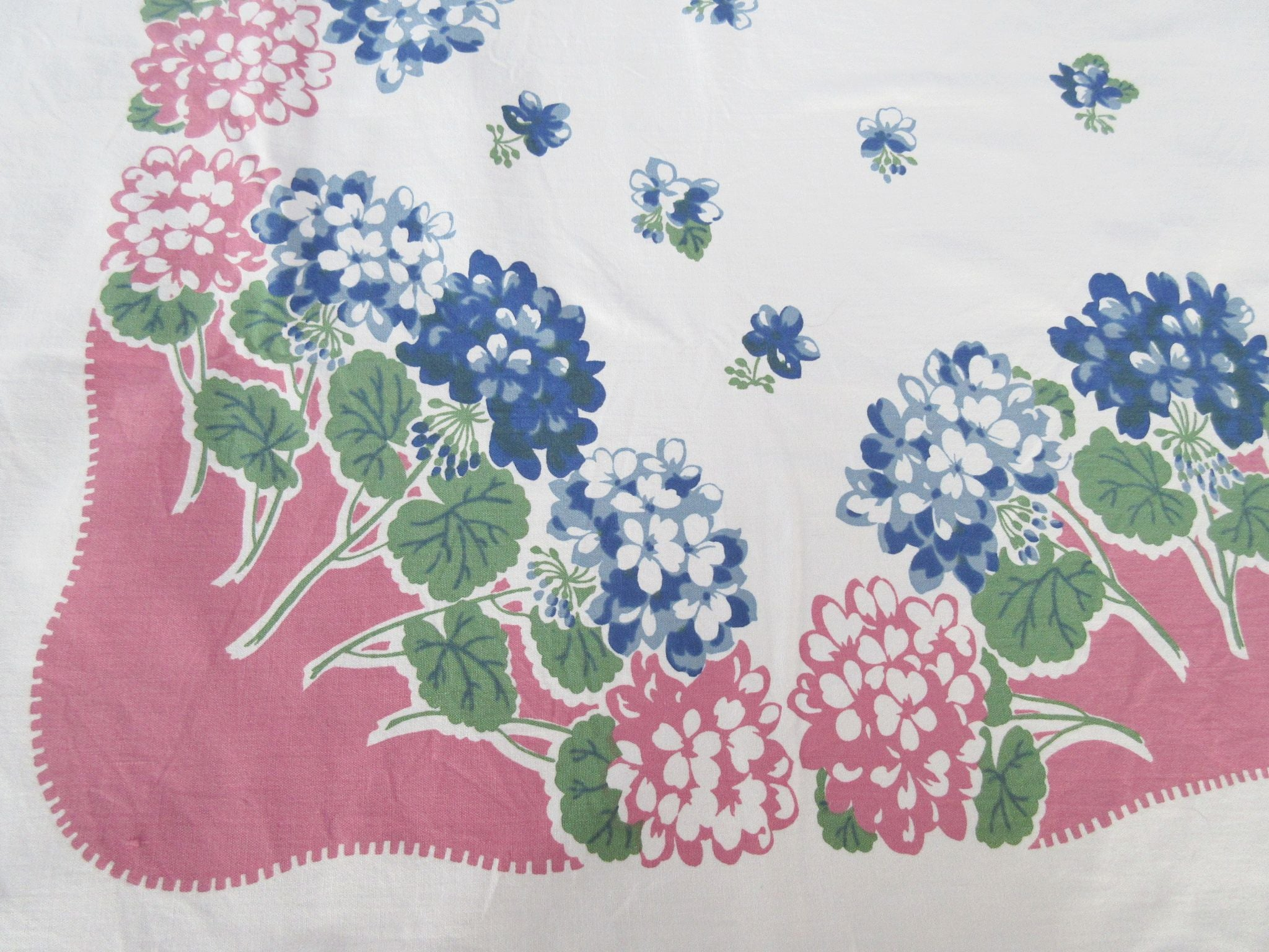 Larger Blue Pink Hydrangeas on Pink Floral Vintage Printed Tablecloth (63 X 52)