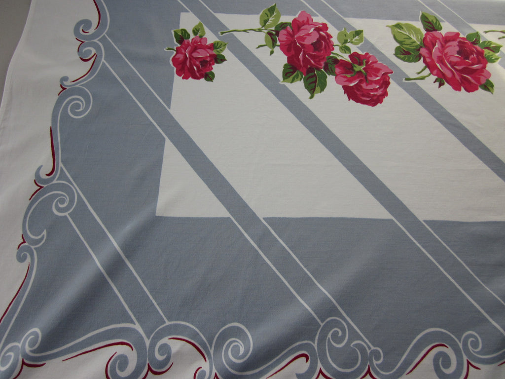 Pink Green Roses on Gray Floral Vintage Printed Tablecloth (58 X 52)