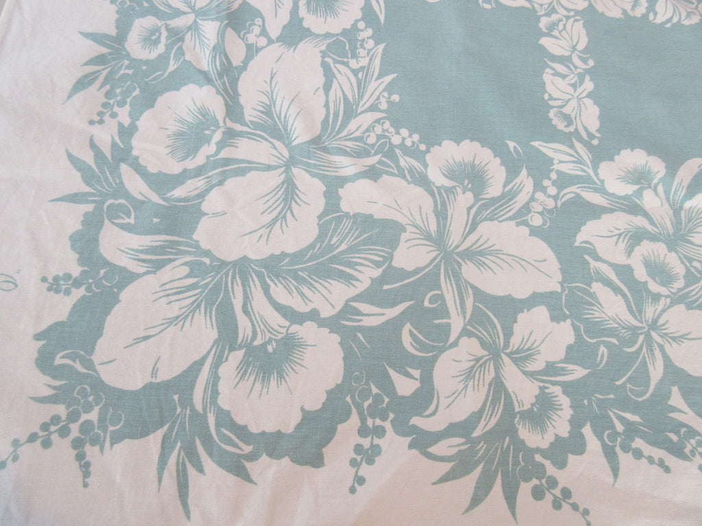Orchids Reverse Printed on Sage Green Floral Vintage Printed Tablecloth (62 X 50)