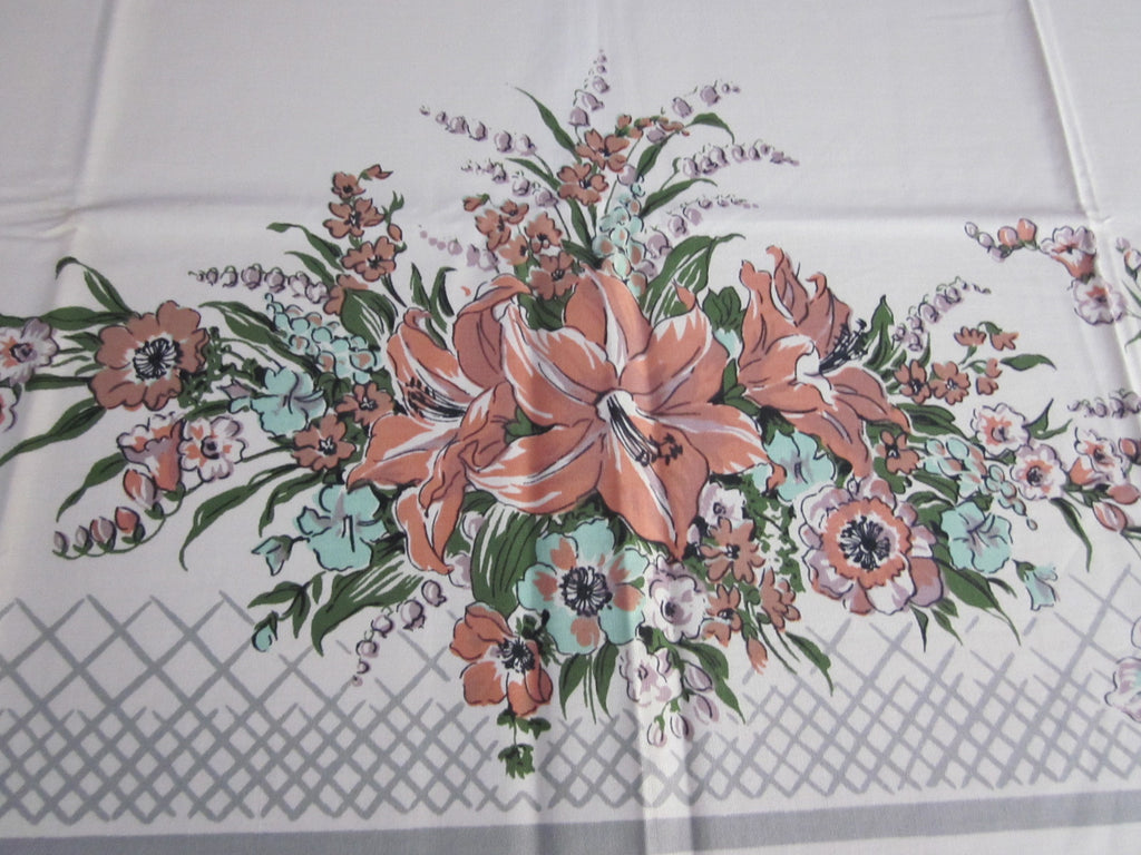 Melon Green Lilies on Gray Floral MWT Vintage Printed Tablecloth (69 X 53)