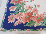 Coral Day Lilies on Cobalt Blue Floral Vintage Printed Tablecloth (50 X 50)