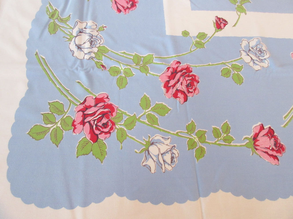 Shabby Pink Roses on French Blue Floral Vintage Printed Tablecloth (58 X 51)