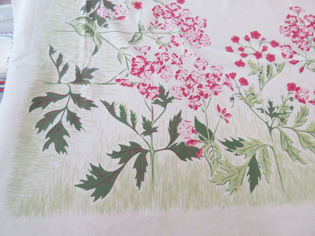 Pretty Pink Green Phlox Floral Vintage Printed Tablecloth (68 X 52)