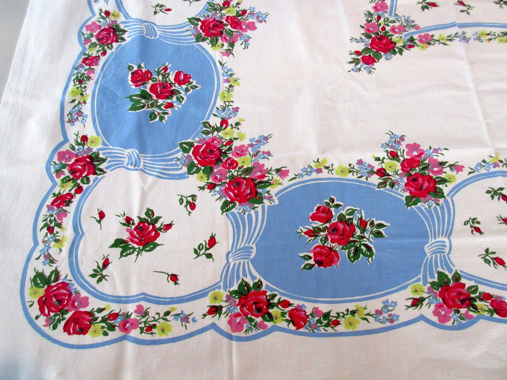 Gorgeous Lipstick Red Roses on French Blue Floral Vintage Printed Tablecloth (50 X 46)