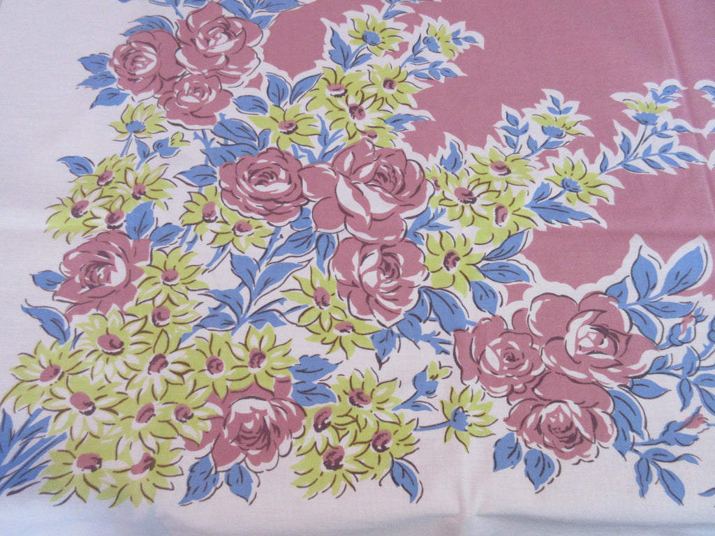 Pink Blue Yellow Roses Floral Vintage Printed Tablecloth (51 X 47)
