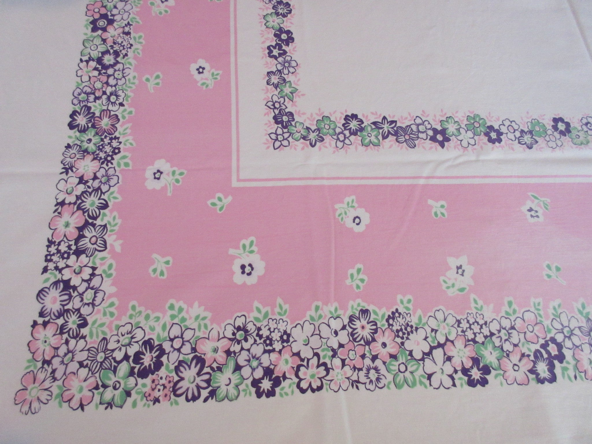 Purple Pink Floral Cutter? Vintage Printed Tablecloth (59 X 52)