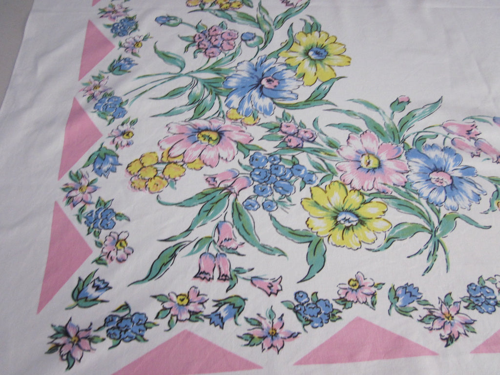 Pastel Blue Yellow Floral on Pink Vintage Printed Tablecloth (51 X 45)