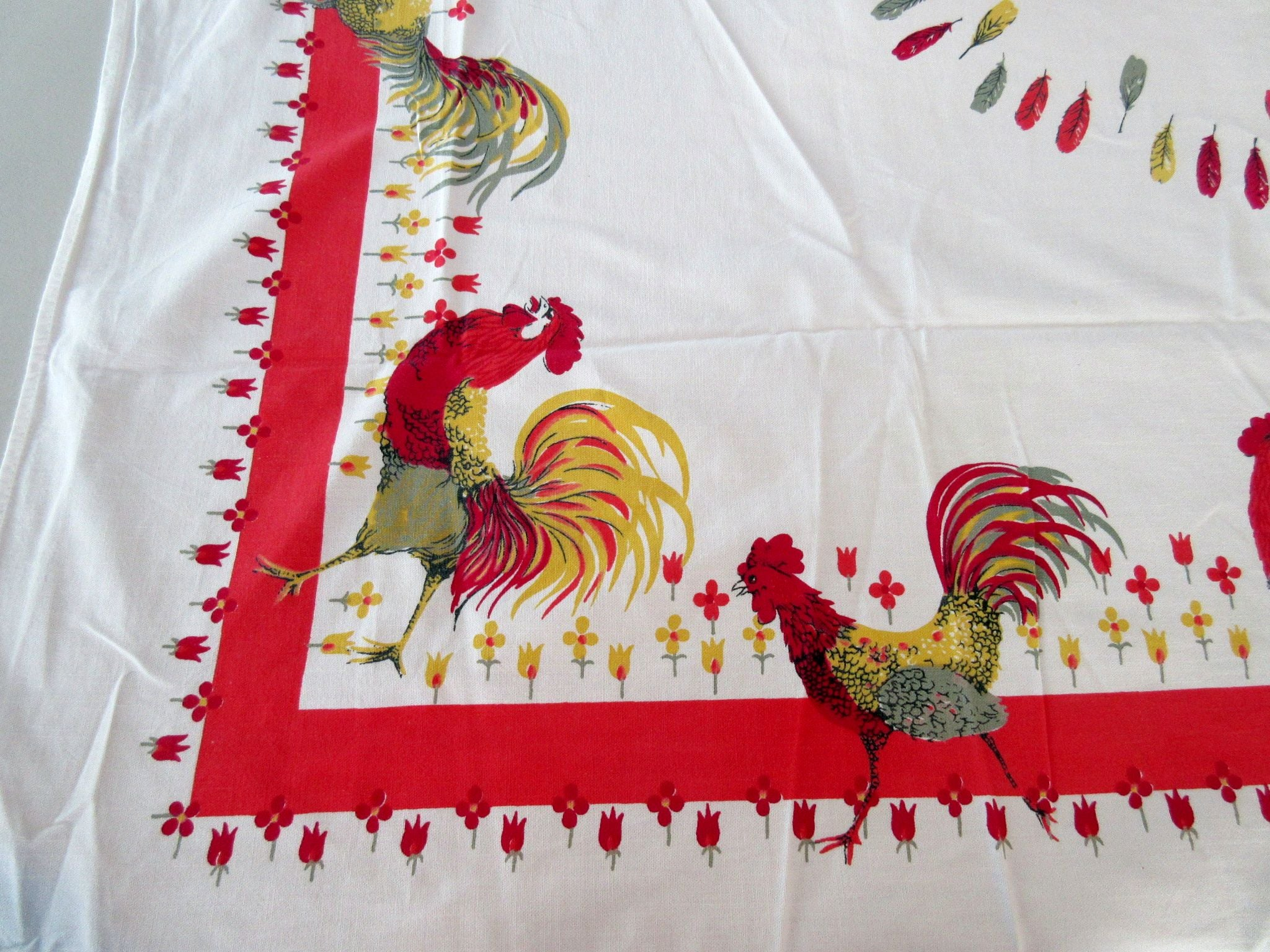 Roosters on Red Cutter? Novelty Vintage Printed Tablecloth (62 X 51)