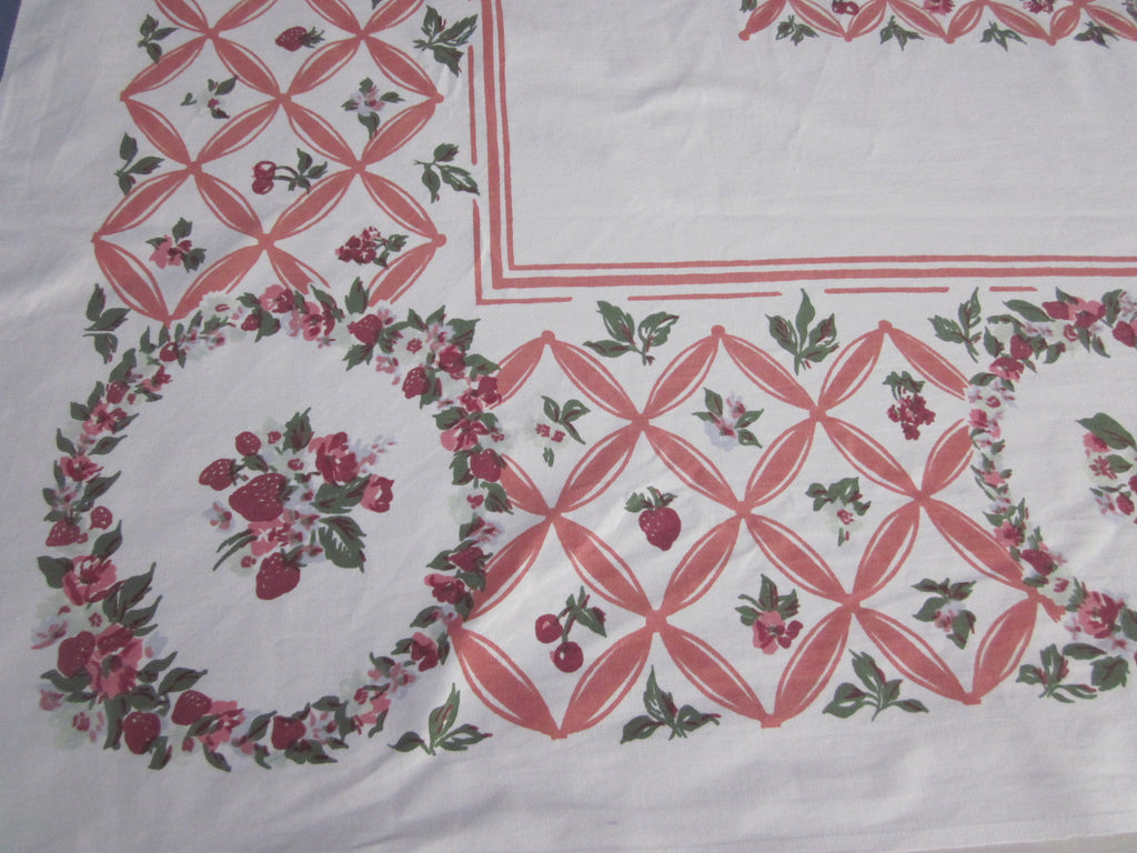 Strawberries on Salmon Pink Fruit Vintage Printed Tablecloth (64 X 52)