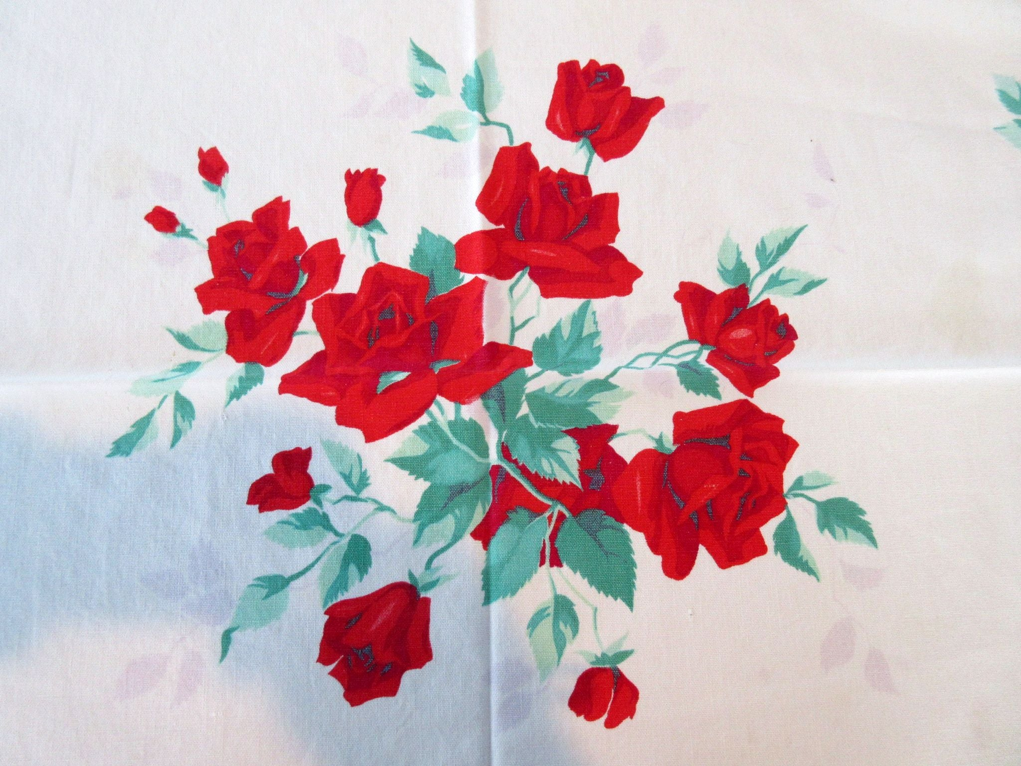 Small Wilendur Royal Rose Cutter? Vintage Printed Tablecloth (45 X 41)