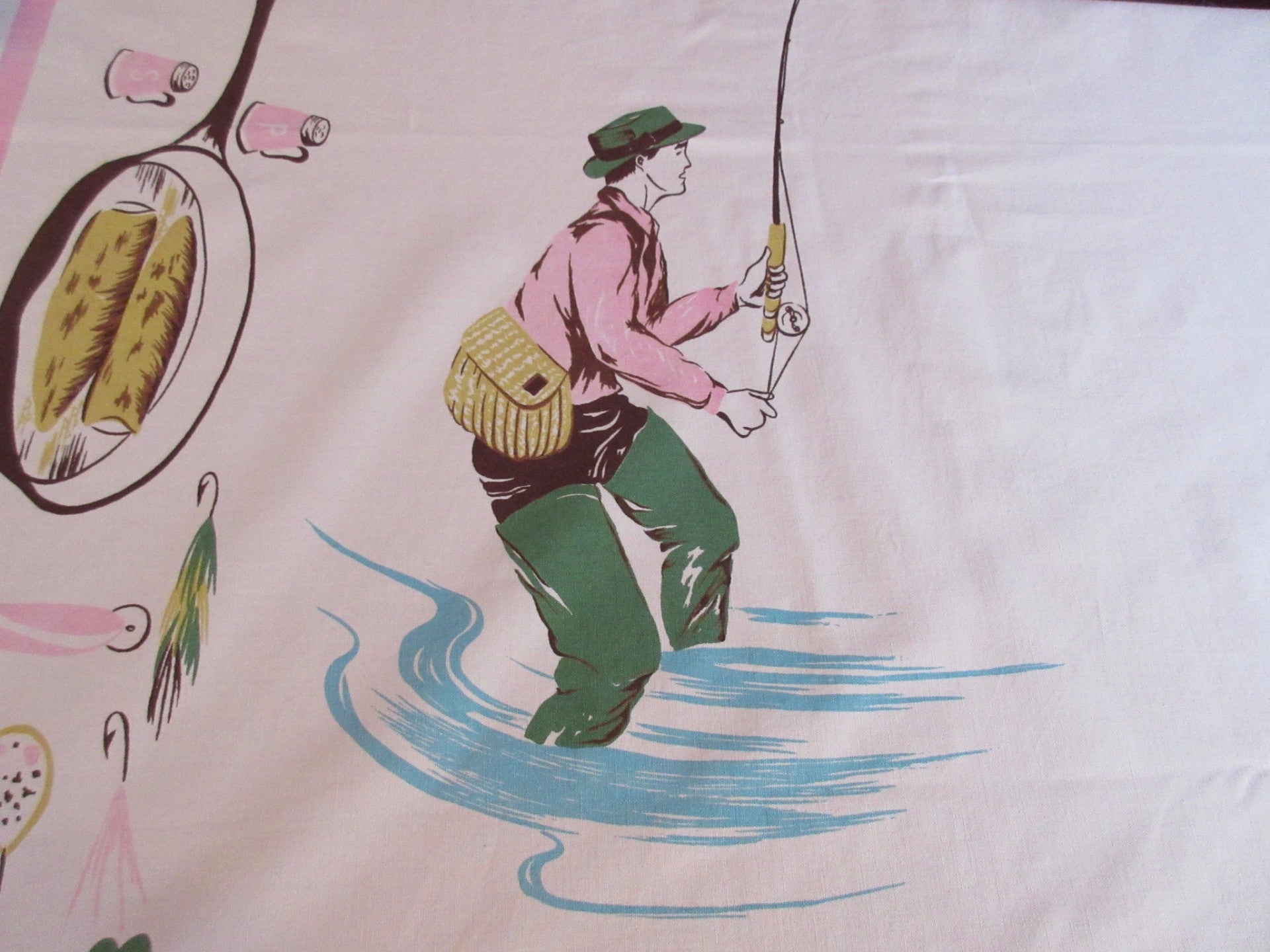 Rare California Hand Prints Fishing Fisherman Novelty Vintage Printed Tablecloth (69 X 54)