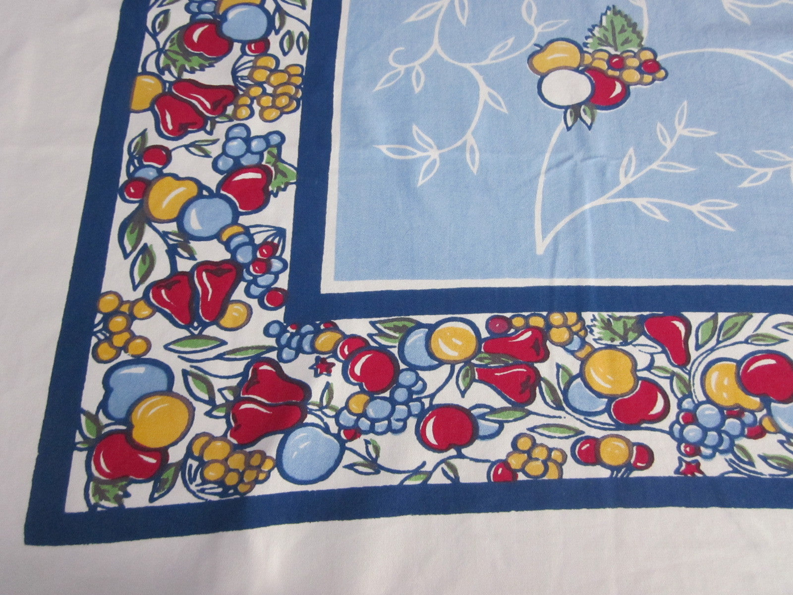 Primary Red Green Stained Glass Fruit on Blue Vintage Printed Tablecloth (52 X 46)