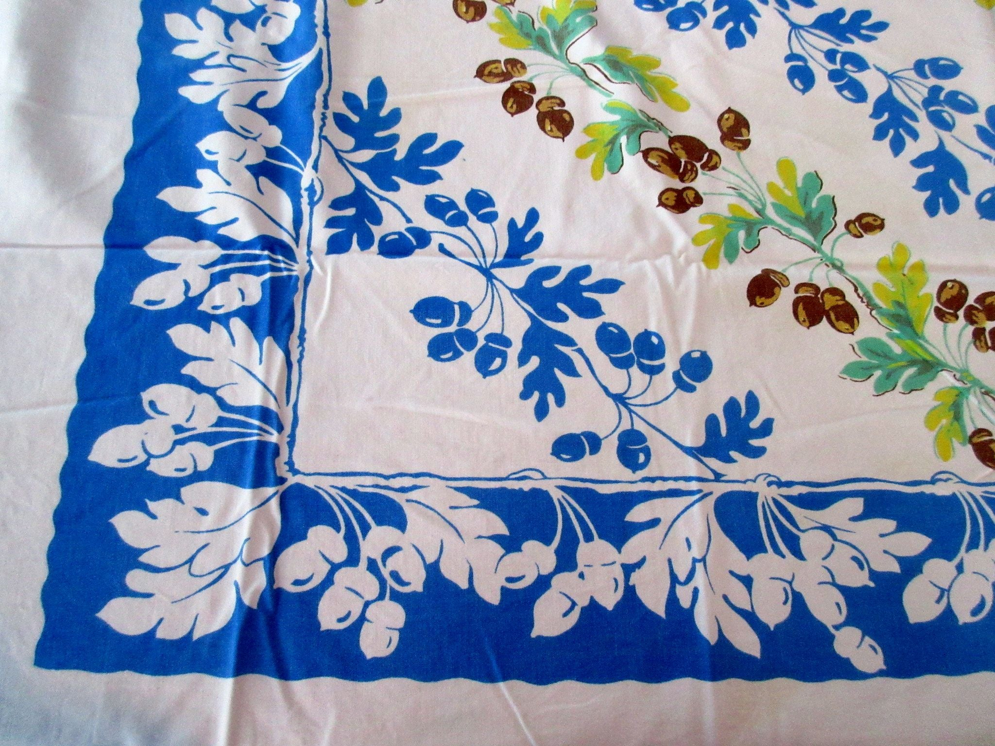 Acorns Leaves on Blue Novelty Vintage Printed Tablecloth (50 X 42)