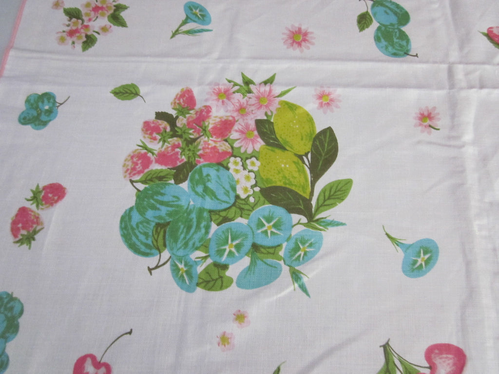 Pastel Pink Aqua Fruit Morning Glories Floral MWT Vintage Printed Tablecloth (72 X 54)