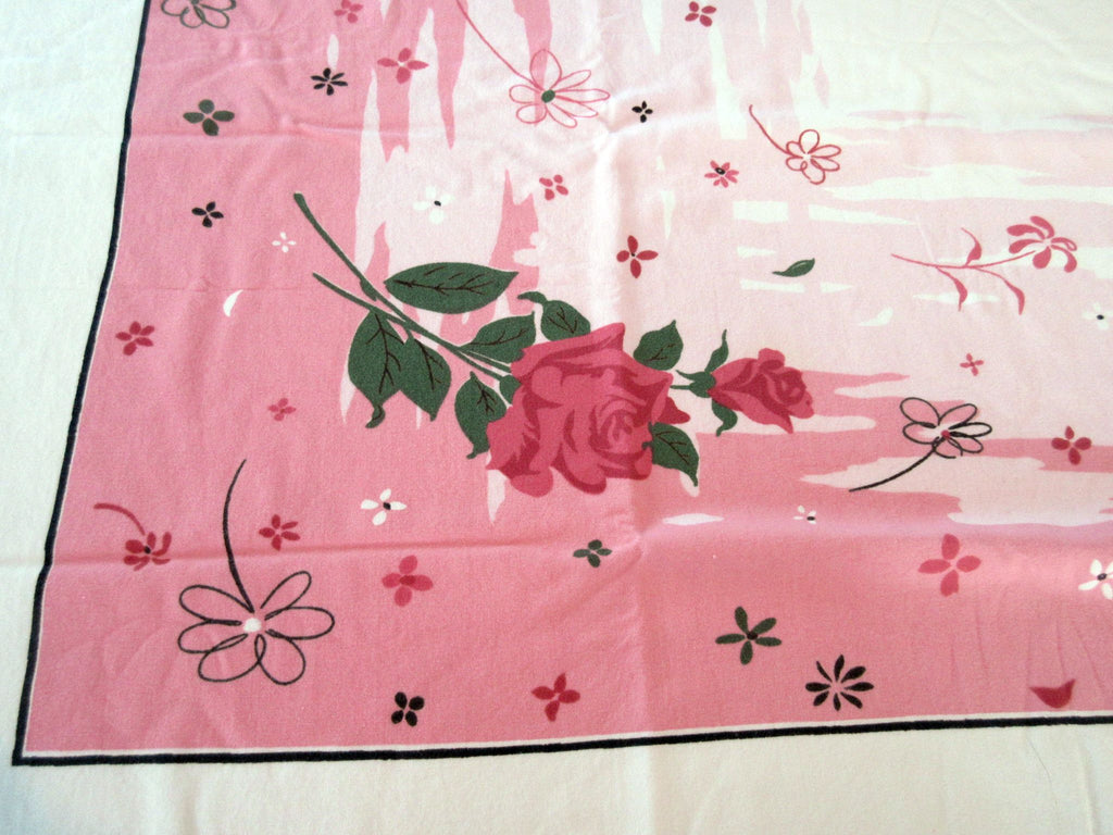 Shabby Pink Roses on Pink Floral Vintage Printed Tablecloth (52 X 45)
