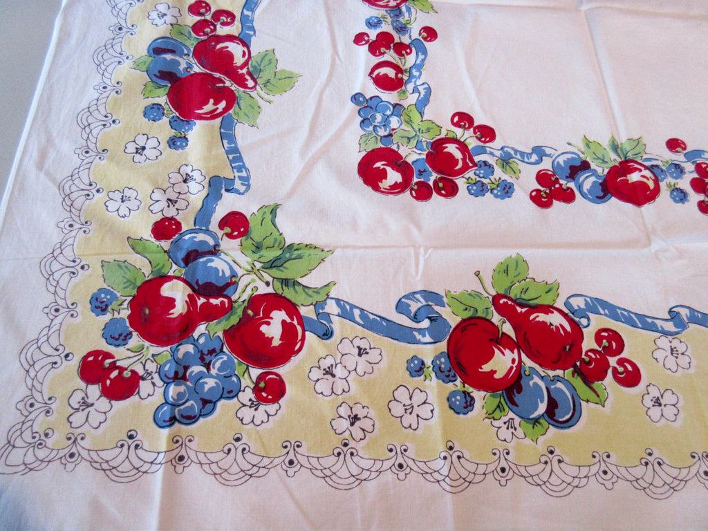 Bright Red Blue Fruit on Yellow Topper Vintage Printed Tablecloth (42 X 41)