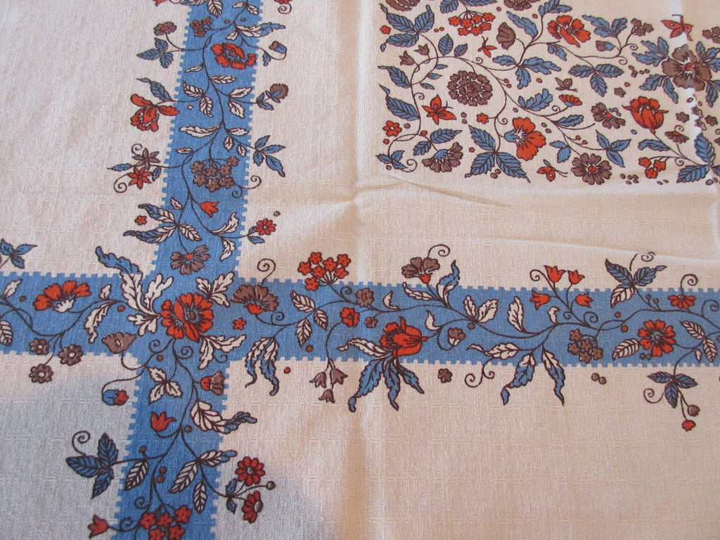 Blue PA Dutch on Tan Topper Floral Vintage Printed Tablecloth (35 X 33)