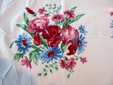 Bright Blue Pink St Regis Iris Daisy Array Floral Vintage Printed Tablecloth (50 X 49)