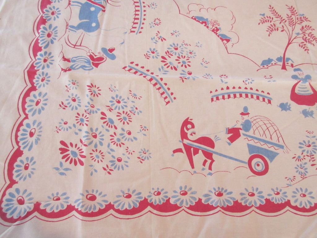 Shabby Cartoon Farmers Horses Cutter? Novelty Vintage Printed Tablecloth (46 X 44)
