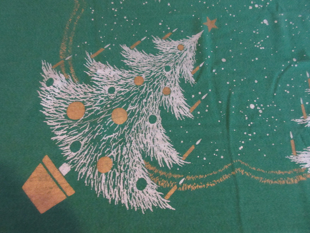 CHP Christmas Trees on Green Novelty Vintage Printed Tablecloth (66 X 54)
