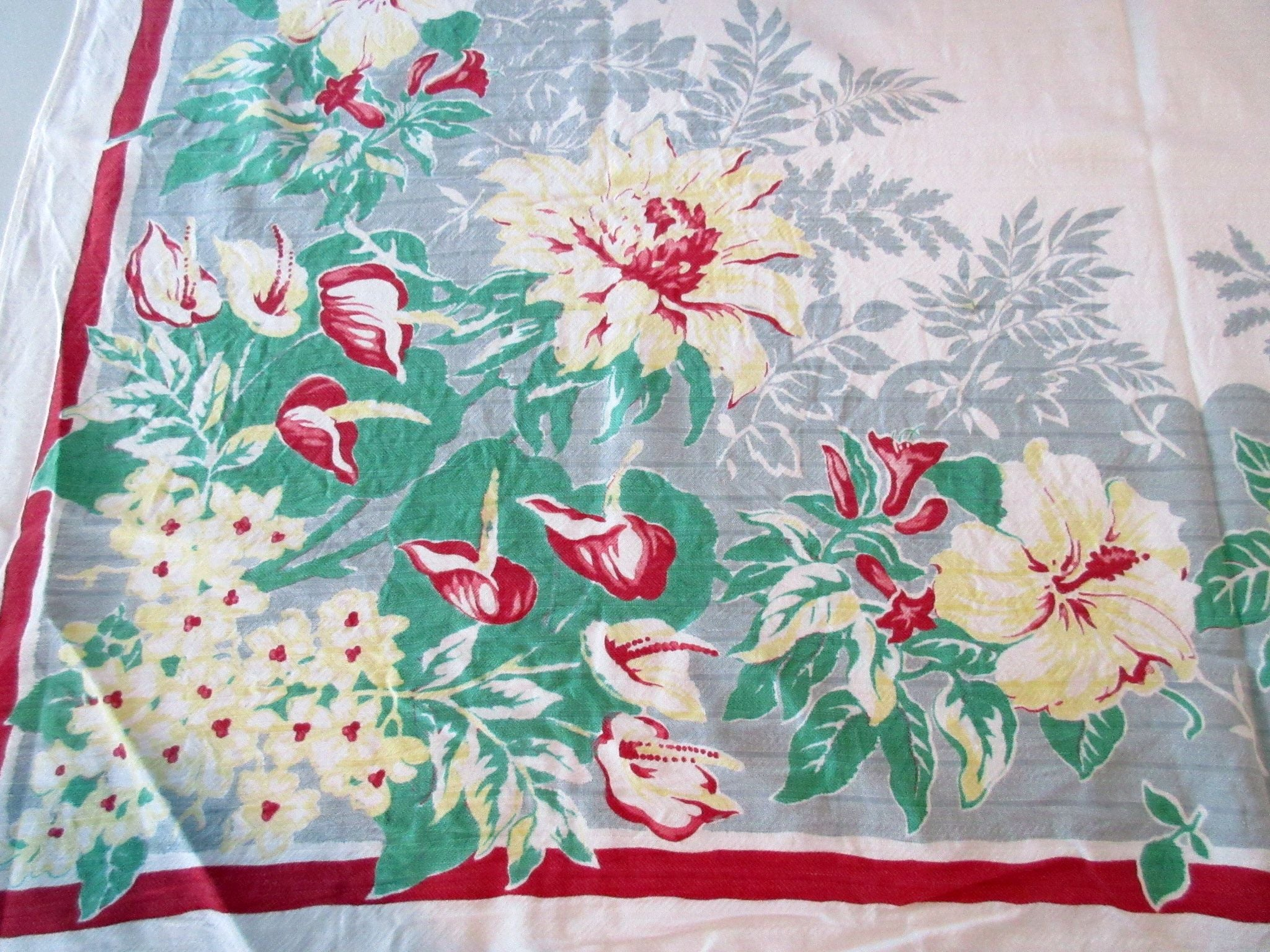 Yellow Tropical Flowers on Gray CUTTER Floral Vintage Printed Tablecloth (50 X 47)