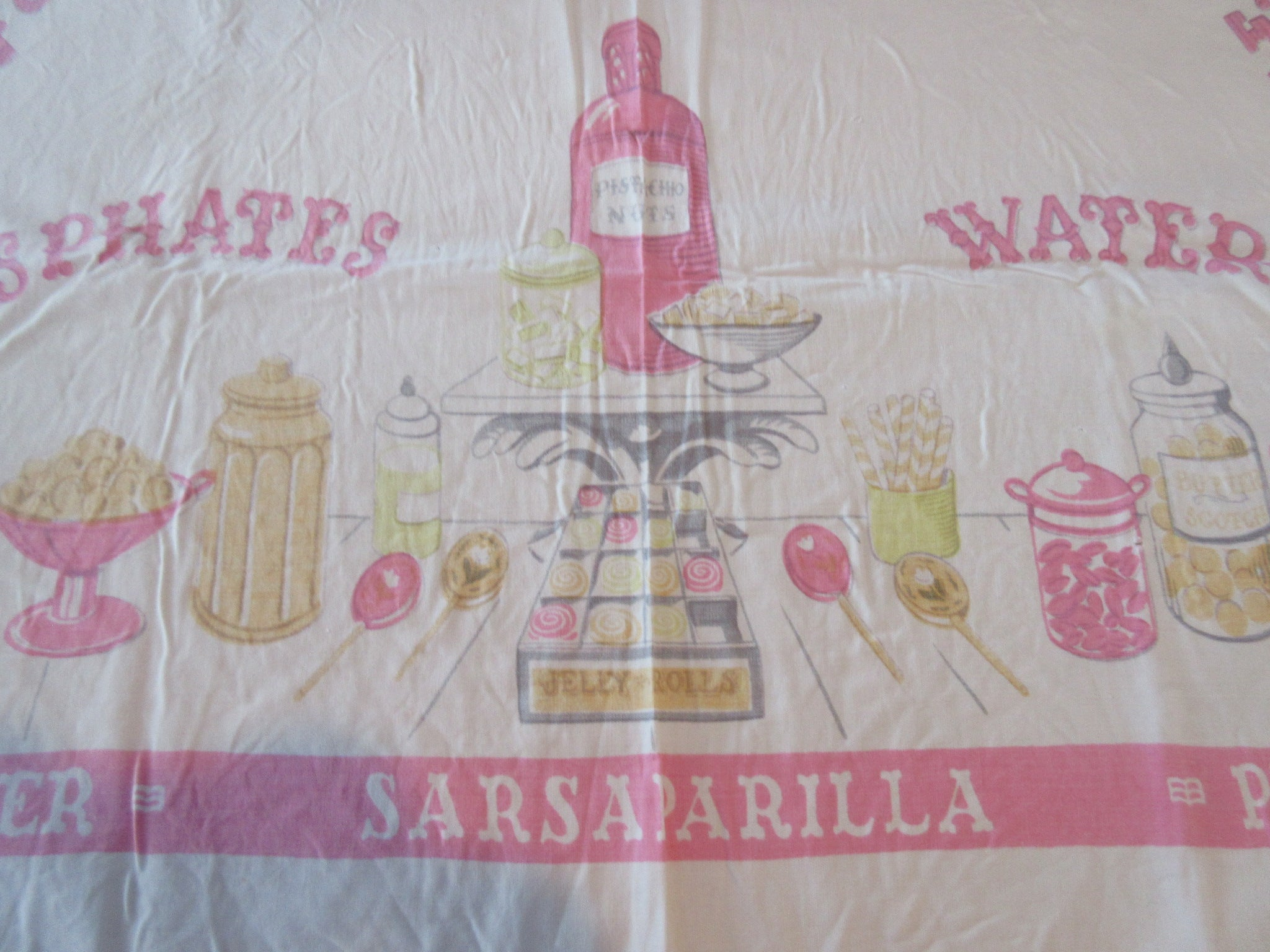 Faded Ice Cream Parlor CUTTER Novelty Vintage Printed Tablecloth