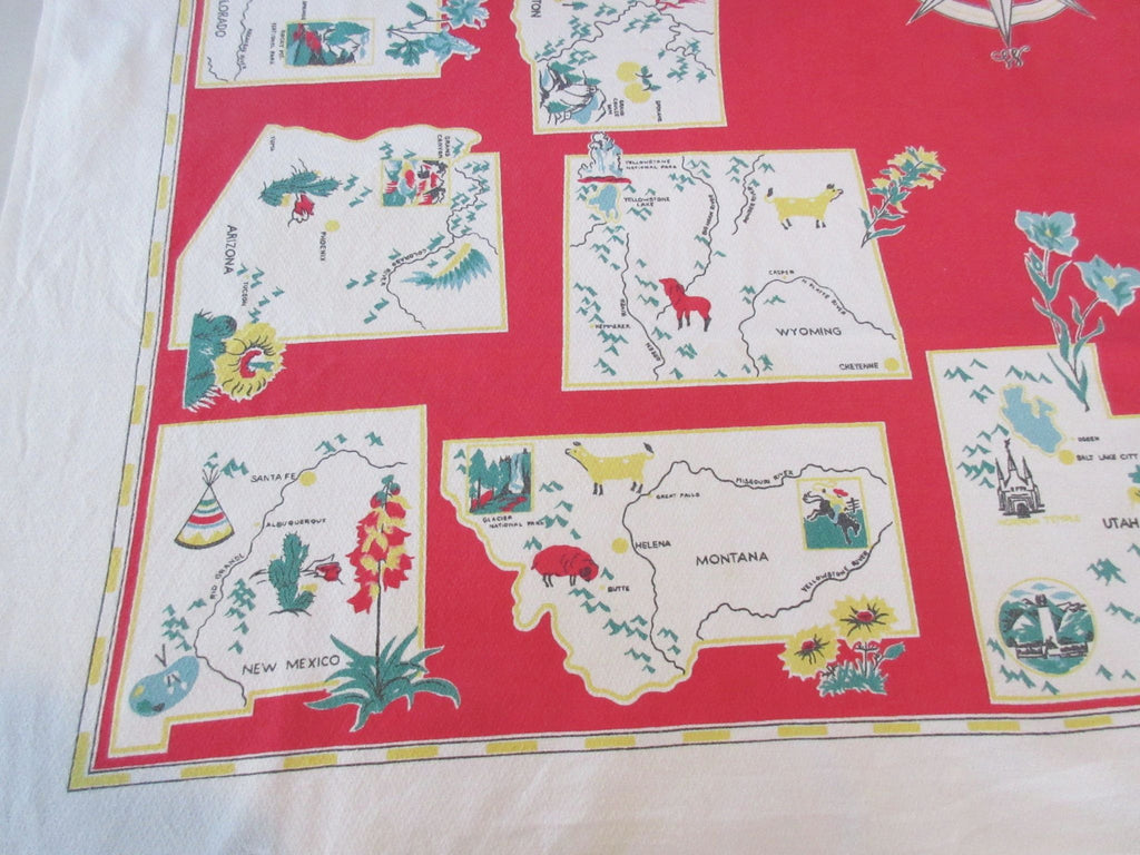 Shabby Western States on Red Novelty Vintage Printed Tablecloth (50 X 46)