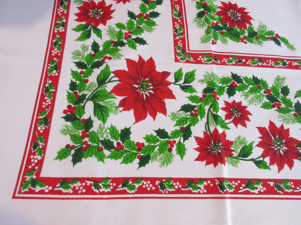 Christmas Poinsettias Garland MWT Vintage Printed Tablecloth (70 X 52)