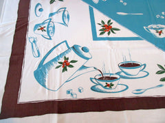 HTF Coffee on Turquoise Calaprint Novelty Vintage Tablecloth (51 X 44)