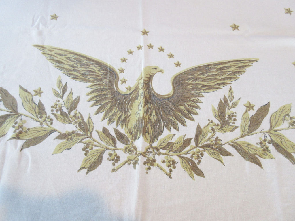 Patriotic Golden Eagle Hardy Craft Linen Novelty Vintage Tablecloth (74 X 58)