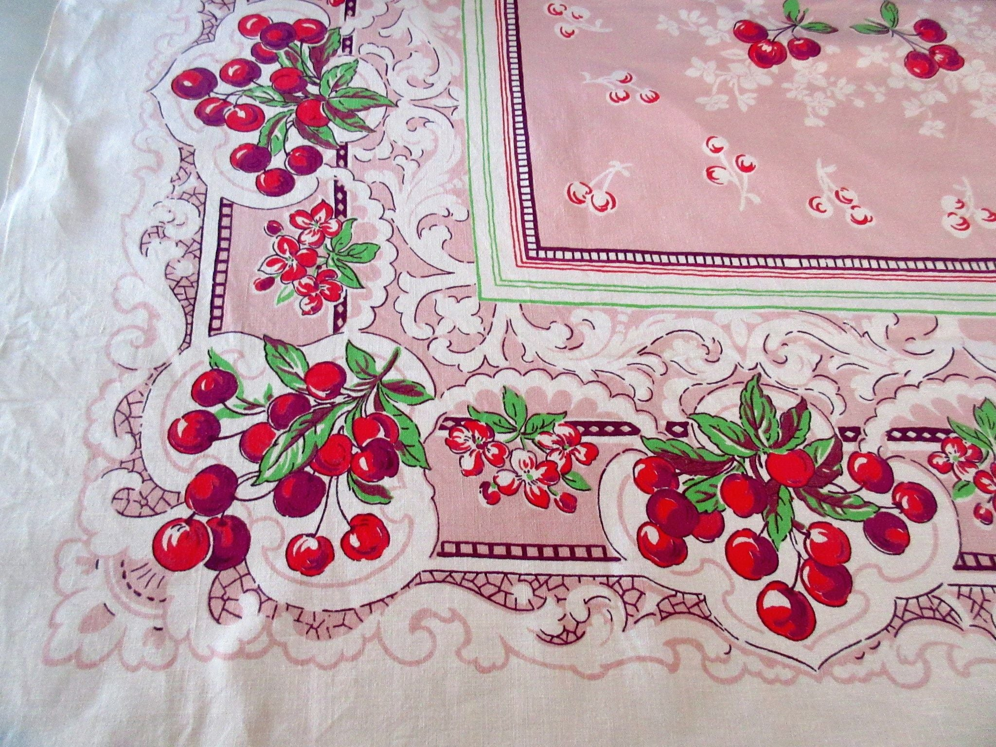 Rustic Cherries on Pink Fruit Vintage Printed Tablecloth (50 X 49)