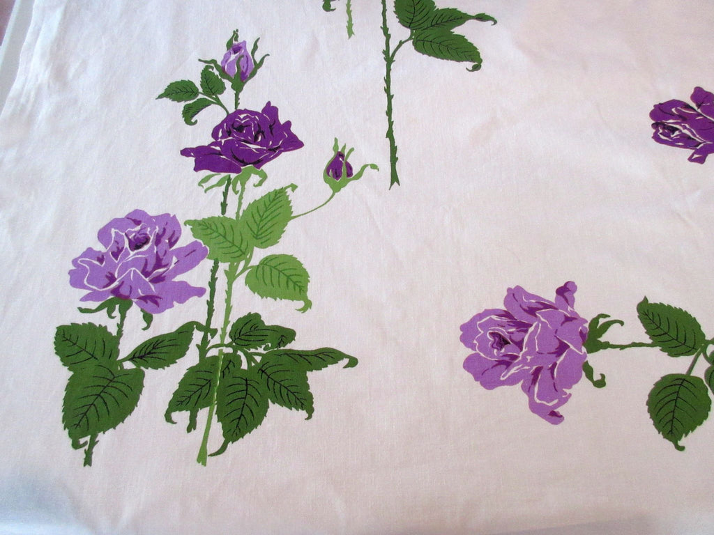 Pretty Purple Long Stem Roses Floral Vintage Printed Tablecloth (51 X 46)